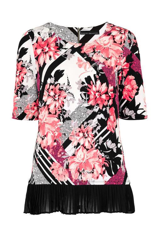 David Emanuel Striped Bouquet Print Tunic Top