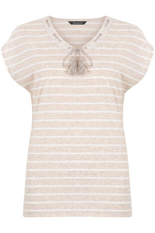 Stripe Lace Up Detail T-Shirt