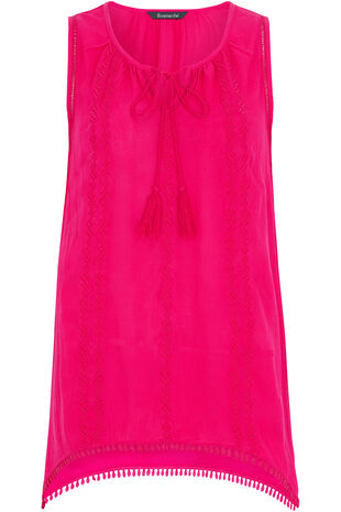 Sleeveless Hanky Hem Embroidered Top
