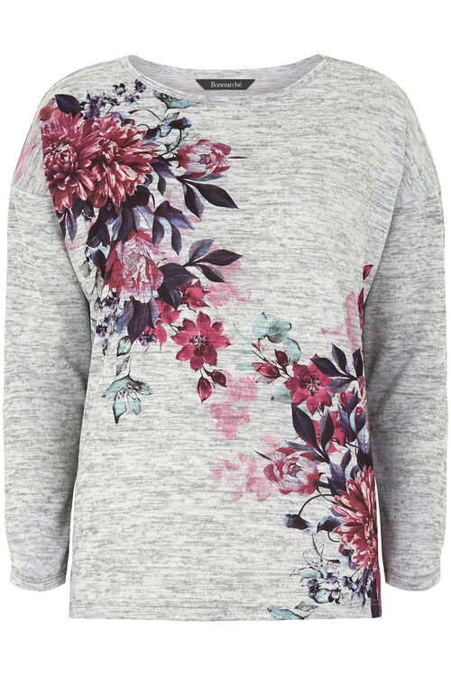 Floral Placement Soft Touch Crew Neck Sweater