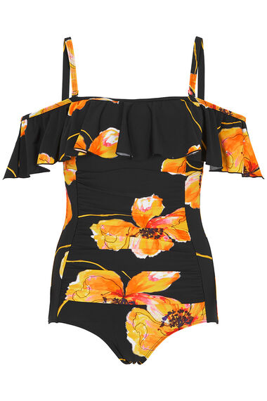 Poppy Print Bardot Swimsuit with Detachable Straps