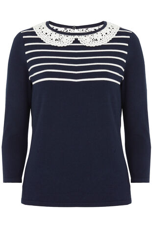 Lace Collar Striped Jumper