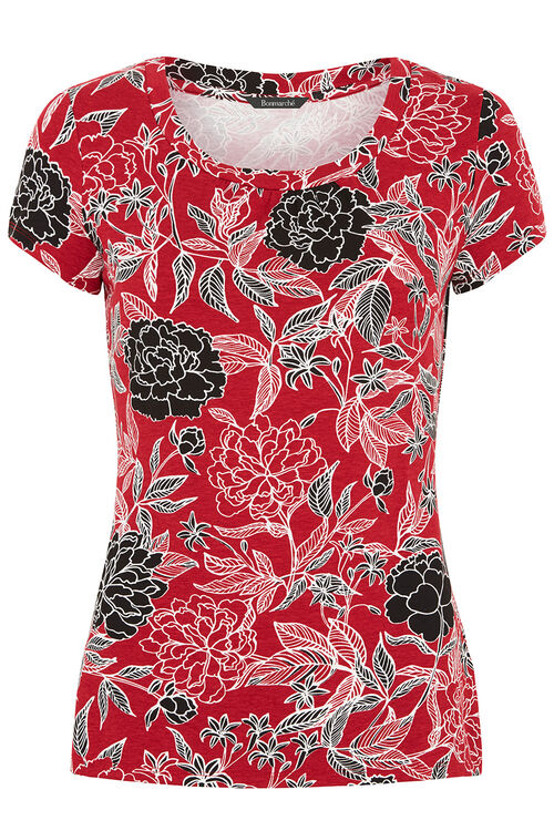 Floral Print Scoop Neck Top