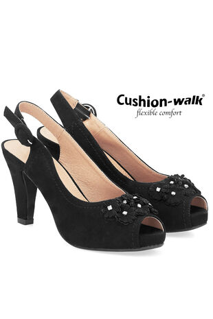 Cushion Walk Sling Back Shoe with Flower Embellishment