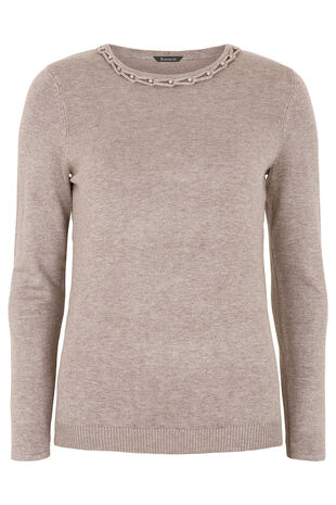 Beaded Neckline Jumper