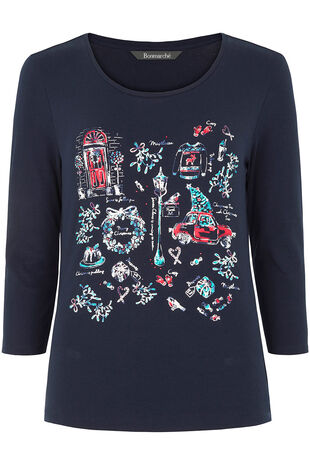 Christmas Placement Print T-Shirt