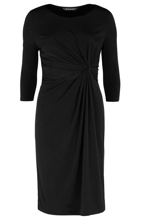 Plain Side Drape Jersey Dress