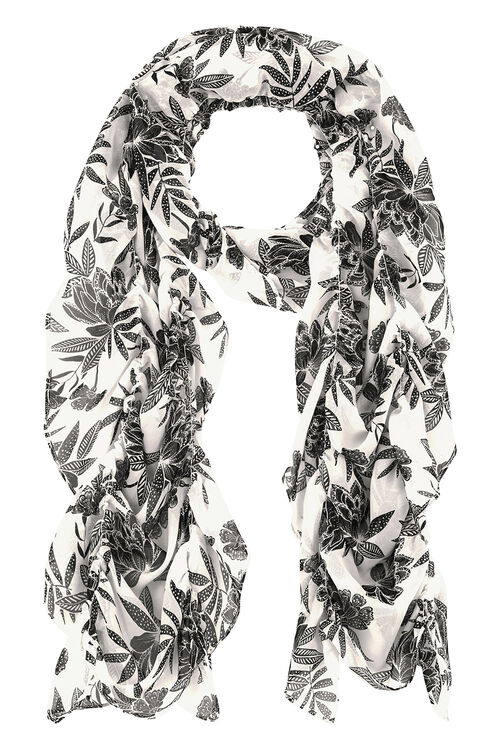Elasticated Tropical Mono Print Scarf