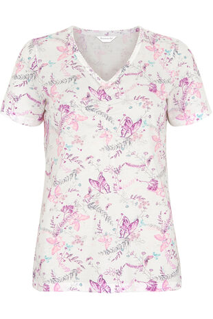 Butterfly V-Neck Pyjama Top