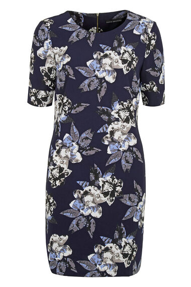 David Emanuel Photographic Floral Crepe Tunic Dress