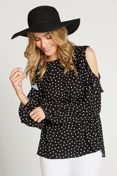 Long Sleeved Cold Shoulder Blouse With Frill Detail