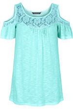 Cold Shoulder Top With Lace Neckline