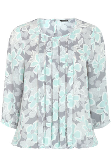 3/4 Floral Printed Pleat Front Blouse