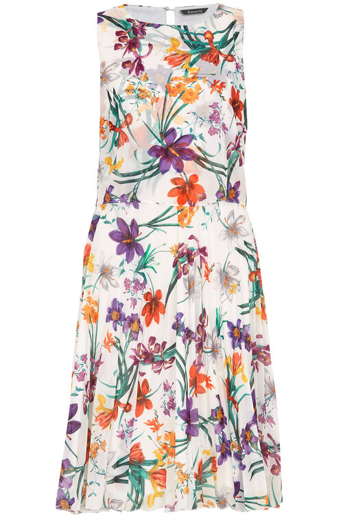 Pleated Floral Print Dress