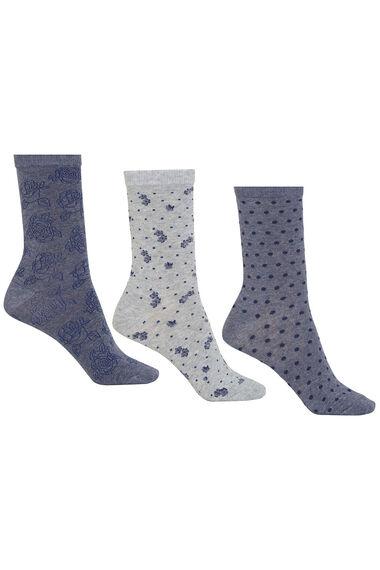 Spot Floral Jacquard 3 Pack Sock