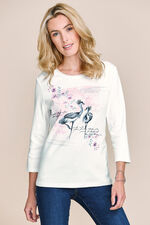Crane Print Scoop Neck T-Shirt