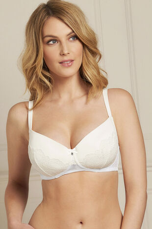 Ivory Lace Diamante Detail Bra