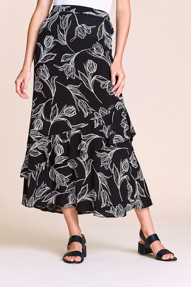 Printed Ruffle Skirt