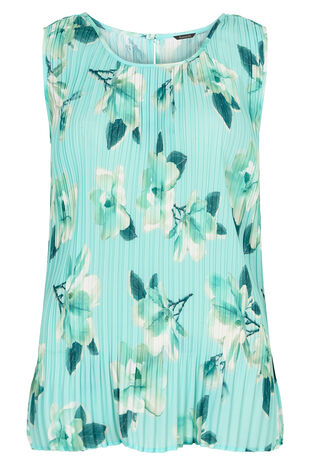 Sleeveless Floral Printed Pleated Top