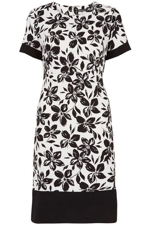 A-Line Mono Floral Crepe Dress