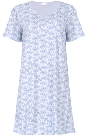 Blue Elephant Print Nightshirt