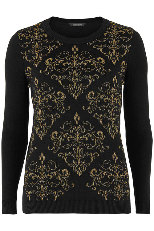 Metallic Yarn Jacquard Sweater