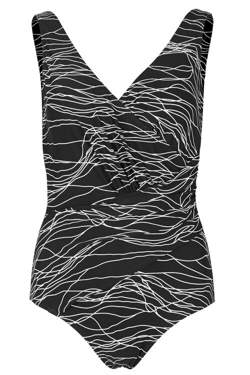 Line Print Wrap Swimsuit
