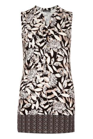 Printed Jersey Vest With Woven Hem