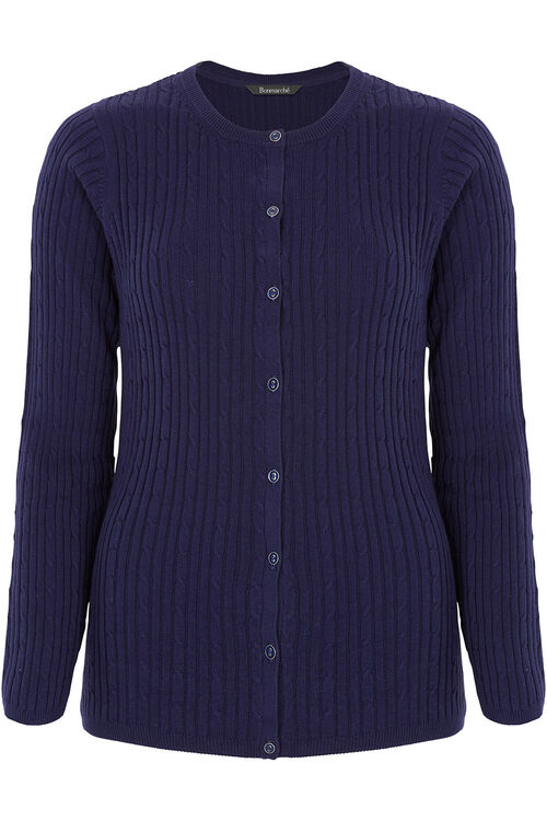Button Through Cable Cardigan