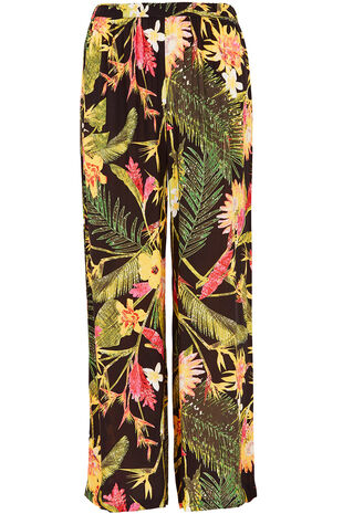 Tropical Print Wide Leg Trouser