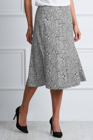 Rose Ponte Jacquard A Line Skirt