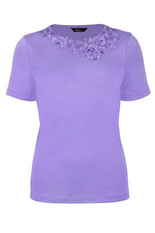 Asymmetric Floral Lace T-Shirt