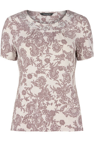 Lace Printed Embellished Top