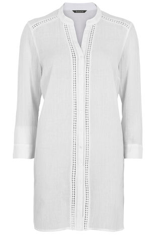 Lace Trim Beach Shirt Cover Up