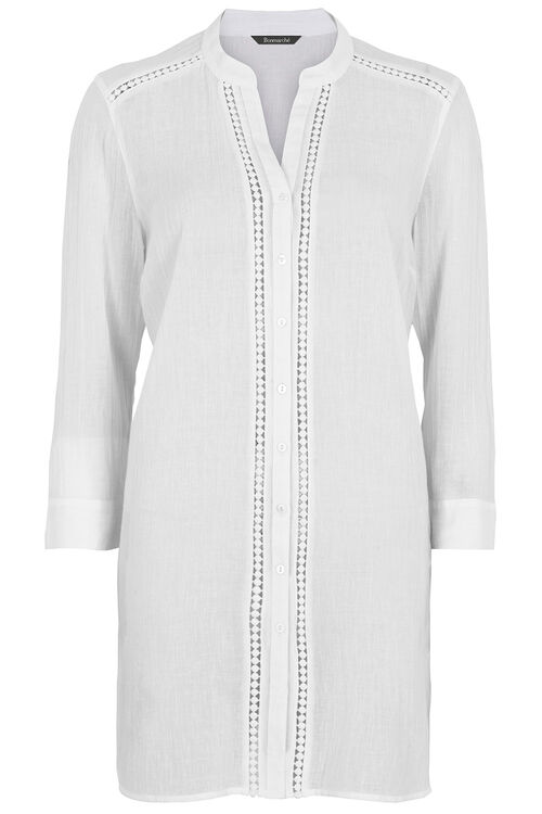 Lace Trim Cotton Beach Shirt