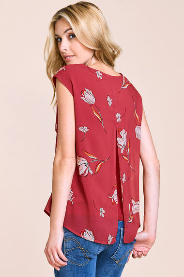 Floral Printed Sleeveless Top With Open Back Detail