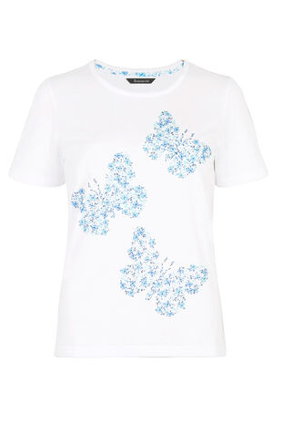 Ditsy Floral Butterfly Print Pyjama Top