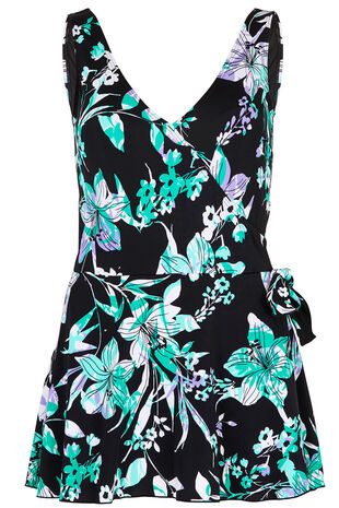 Blue Floral Leaf Swim Dress