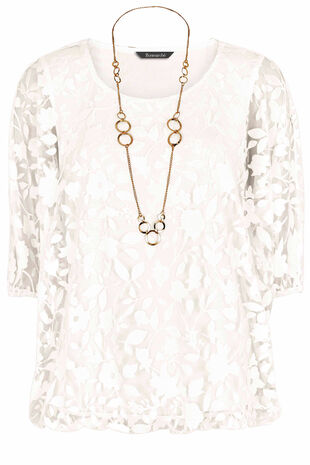 Burnout Bubble Hem Top With Necklace