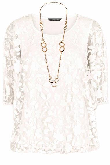 Burnout Bubble Hem Top With Necklace