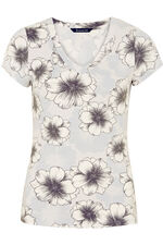Large Floral Print V-Neck Top