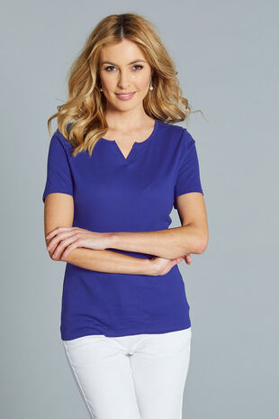 Notch Neck Basic T-Shirt