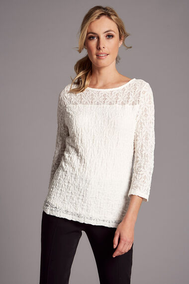 3/4 Sleeve Stretch Lace Top