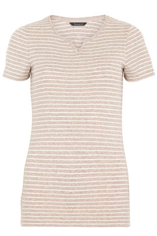 Short Sleeve V-Notch Neck Stripe T-Shirt
