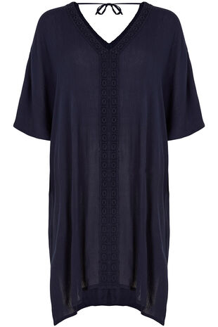 V Neck Lace Trim Kaftan