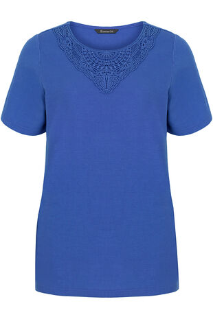 Lace Neckline Rib Back T-Shirt