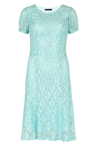 David Emanuel Sequin Lace Fit And Flare Dress