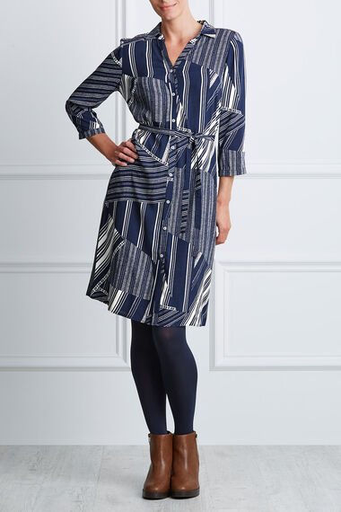 Striped Patchwork Shirt Dress