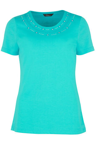 Embellished Neck T-Shirt