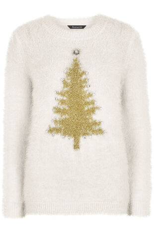 Eyelash Christmas Tree Jumper